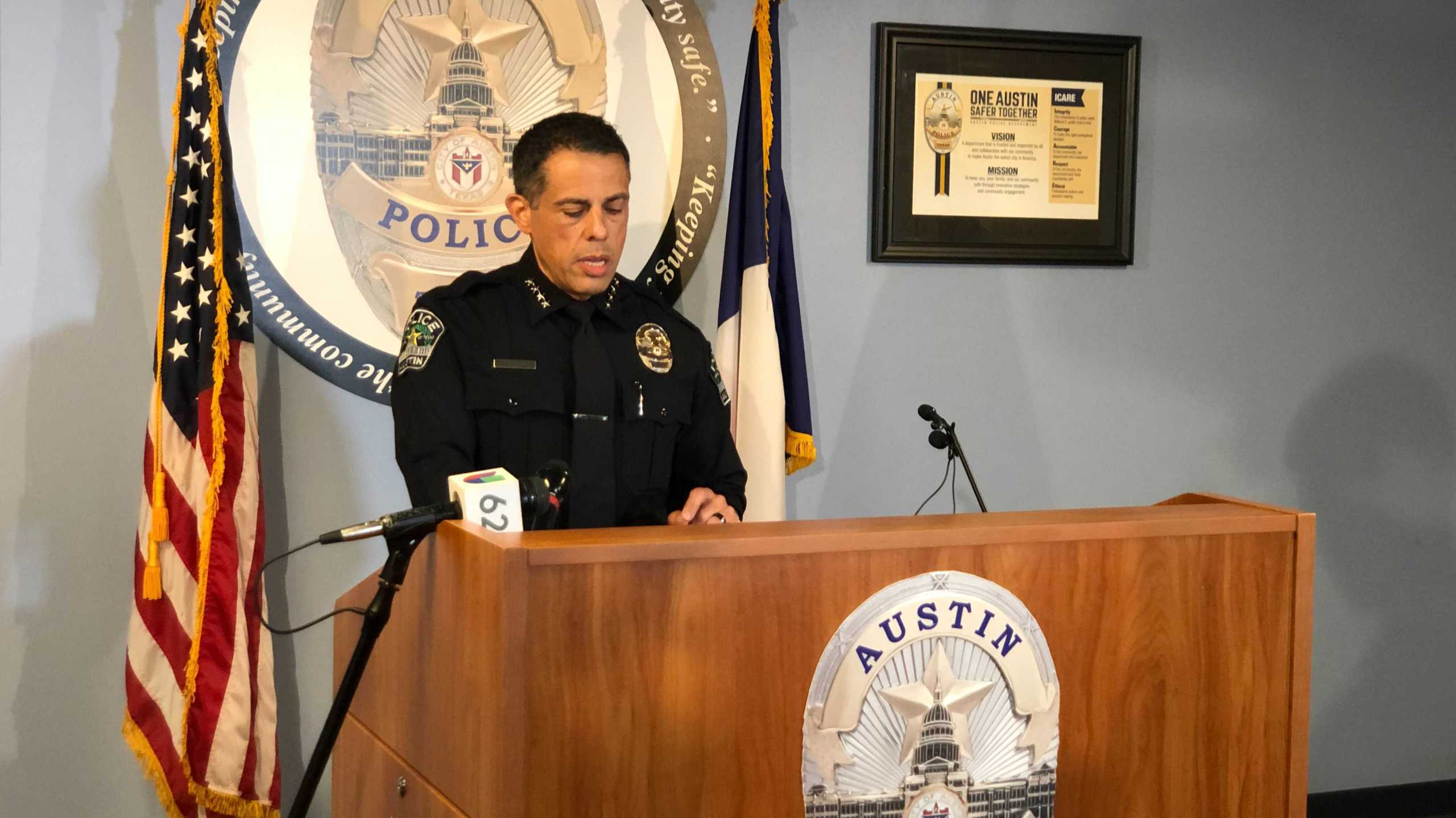 Interim APD Chief Joseph Chacon addresses rising crime in the downtown area and gives an update on the Violence Intervention Program (VIP) that was launched in April 2021 (KXAN Photo/Chris Nelson)