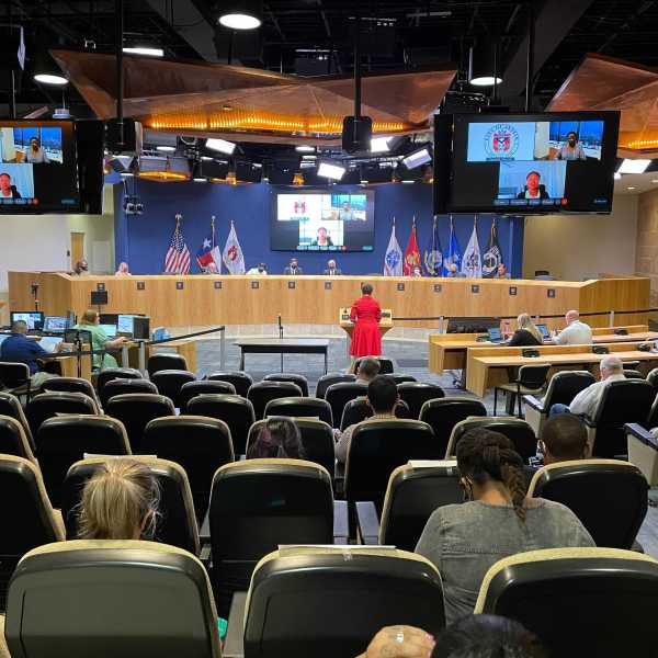 Austin City Council met in person for a hearing on the city's proposed 2021-22 budget. A combination of virtual and in-person speakers addressed council members, many of whom said Austin's attempts at reimagining public safety don't go far enough. (KXAN Photo/Tim Holcomb)