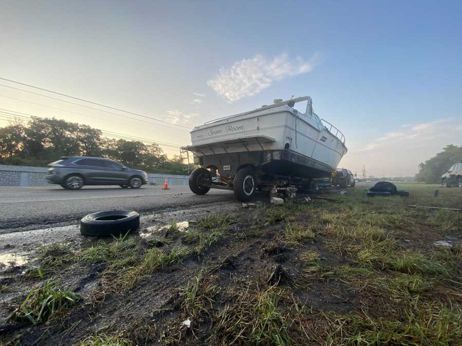 """The """"Spare Room"""" has been stranded along State Highway 71 between Bee Cave and Oak Hill for more than two weeks, and crews may finally be able to move it off the shoulder of the highway Thursday. (KXAN photo)"""