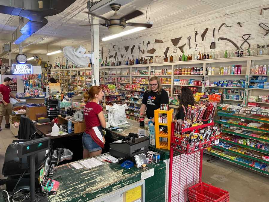Red Rock General Store in Bastrop County thanked the community for their support Saturday, after its building and inventory were damaged in strong storms in May (KXAN Photo/Tim Holcomb)