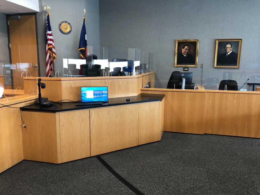 Travis County courtroom with COVID-19 precautions in place (KXAN Photo/Chris Nelson)