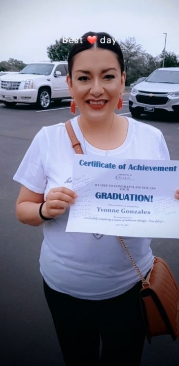 Yvonne Gonzales pictured with a certificate from the Austin Cancer Center, after finishing radiation treatment for her breast cancer. (Photo provided by: Gonzales family)