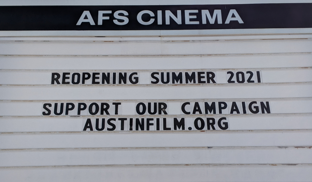 Sign indicates AFS Cinema is reopening