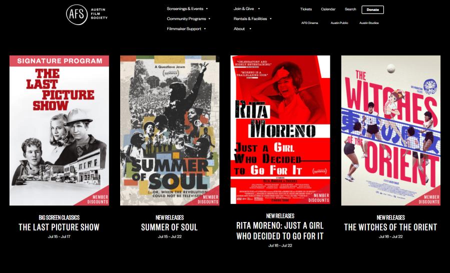 Austin Film society scheduled shows