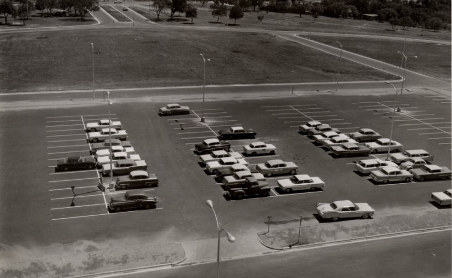 A throwback photo shows the airport parking lot 60 years ago