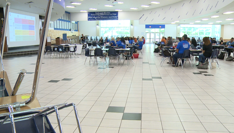 Hays CISD principals and curriculum instructors gathered at Lehman High School on Thursday. They're trying to figure out logistics for their Homebound Academy program. (KXAN Photo/Jala Washington)