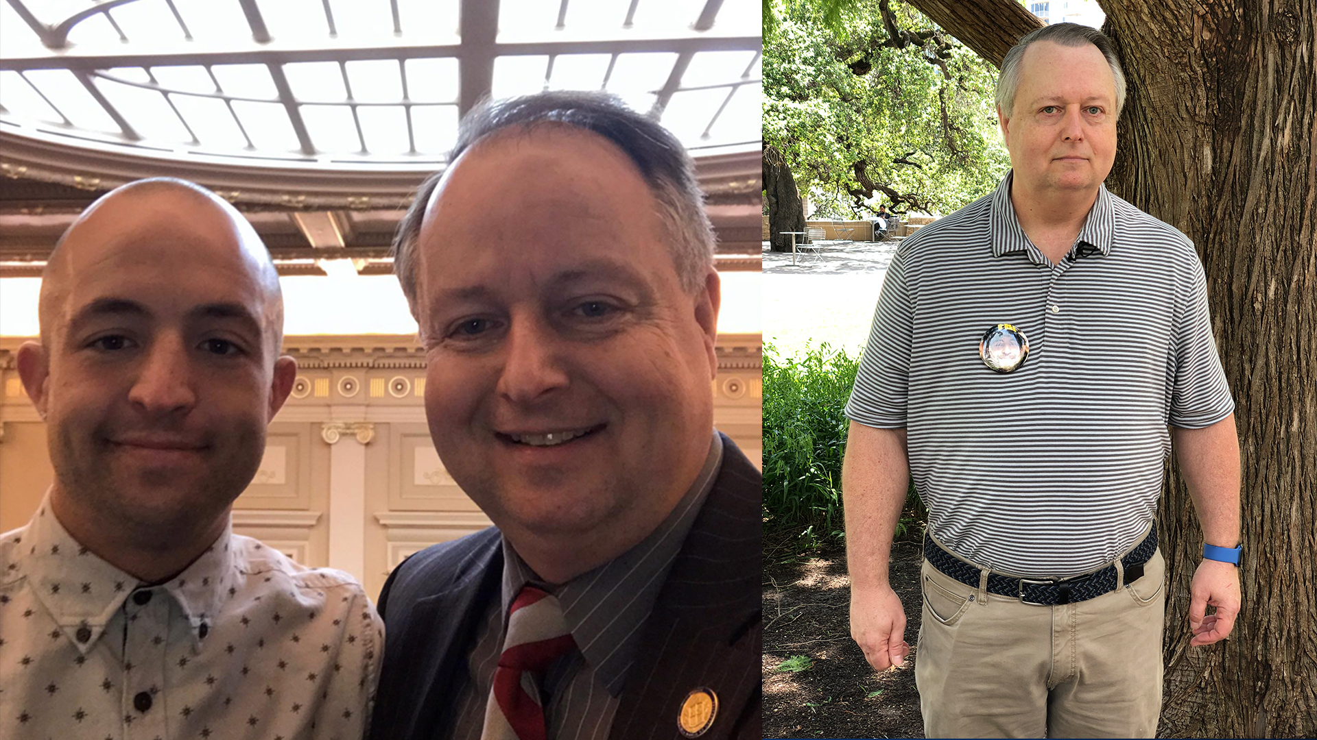 John Bell, a Virginia State senator, shared a photo from when his son volunteered with him while serving in the Virginia House of Delegates. In June, Bell attended an APALD rally in downtown Austin. Bell's son, Joshua, took a pill laced with fentanyl, overdosed and died in 2019. (Courtesy John Bell & KXAN Photo/David Barer)