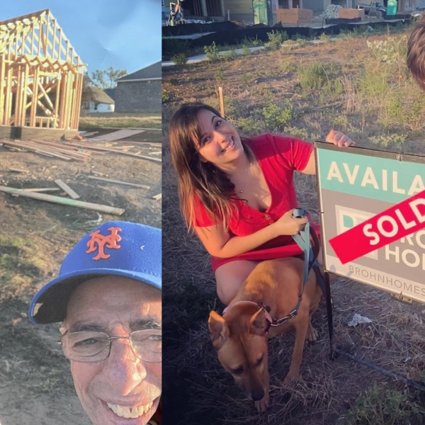 Two potential buyers pose in front of a home under construction, next to another photo of a couple next to a sold sign