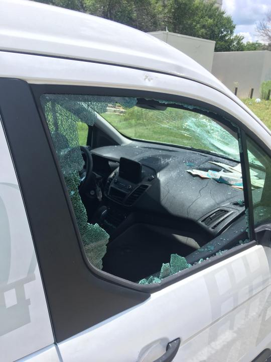 On July 2, Zack Bartlett told KXAN his company's vehicles had been vandalized four times since May 21 (Courtesy Zack Bartlett)