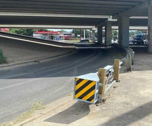 An overpass cleared