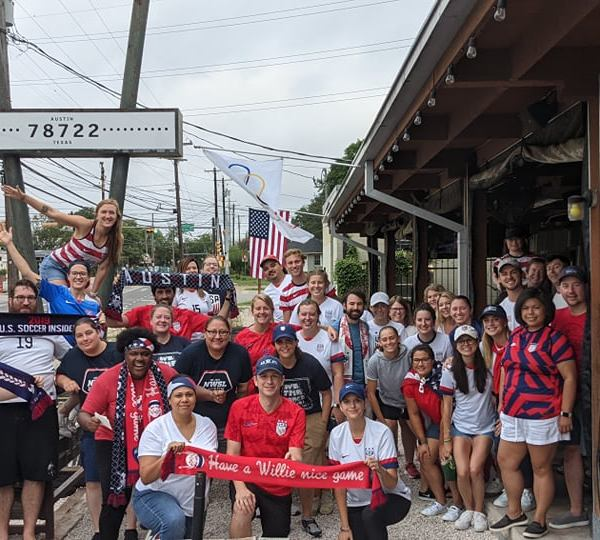 Fans show their Team USA gear outside of Haymaker