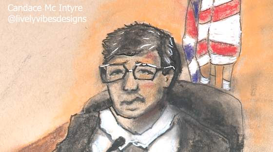 A sketch of Dr. Baker, the first witness at the Rodney Reed hearing on July 19. Cameras are not allowed in the hearing room, but a local artist helped visualize the events of the first day of the two-week long proceeding. (Sketch provided to KXAN by: Candace Mc Intyre)