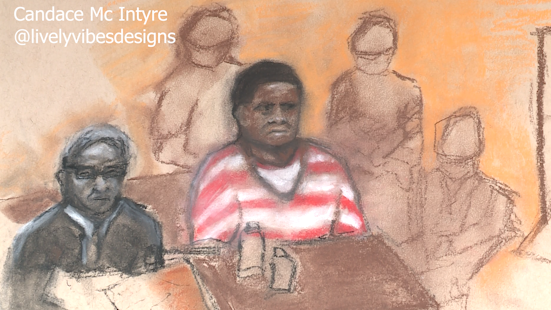 A sketch of Rodney Reed and his defense at the July 19 hearing. Cameras are not allowed in the hearing room, but a local artist helped visualize the events of the first day of the two-week long proceeding. (Sketch provided to KXAN by: Candace Mc Intyre)