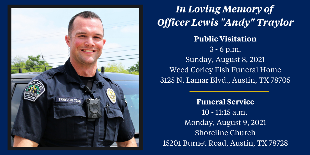 """APD Officer Lewis """"Andy"""" Traylor funeral arrangements (Austin Police Photo)"""