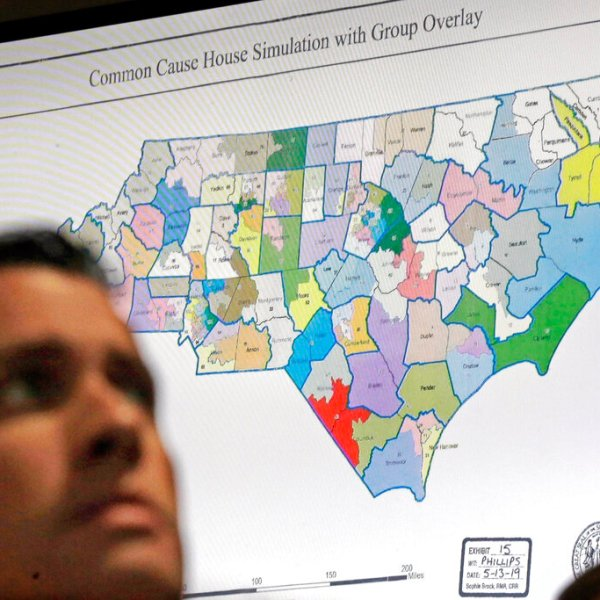 FILE - In this Monday, July 15, 2019 file photo, a state districts map is shown as a three-judge panel of the Wake County Superior Court presides over the trial of Common Cause, et al. v. Lewis, et al, in Raleigh, N.C. Fresh off sweeping electoral victories a decade ago, governors and lawmakers in several states used new census data to redraw voting districts for Congress and state legislatures that were intended to help their party remain in power for years to come. Those efforts largely paid off, particularly for Republicans. An Associated Press analysis designed to detect the effects of gerrymandering shows that Republicans enjoyed a greater political advantage in more states over the past decade than either party had over the past 50 years. (AP Photo/Gerry Broome, File)