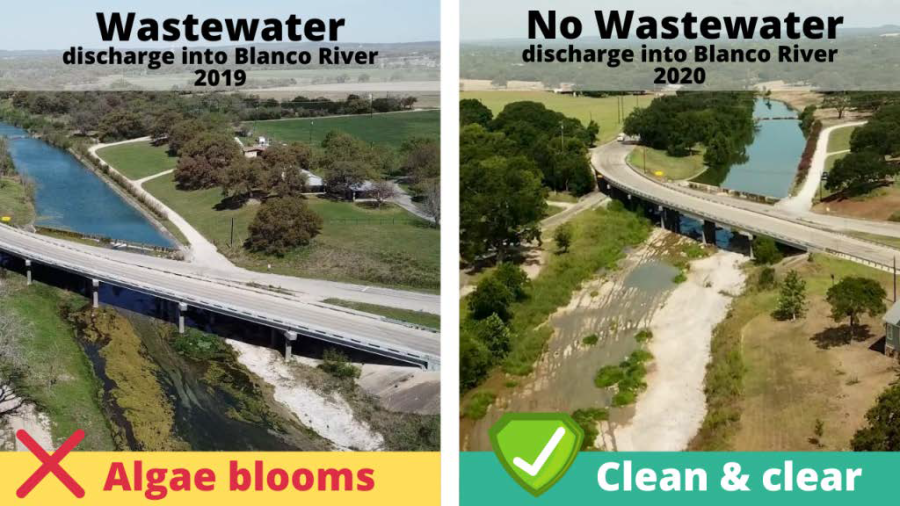 Left: A photo from 2019 shows an algae bloom in the Blanco River. Right: The algae bloom has cleared in this 2020 photo after the City of Blanco stopped discharging effluent into the river (Courtesy Save our Springs Alliance)