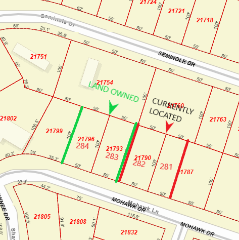 Map of lot locations owned versus lots currently located