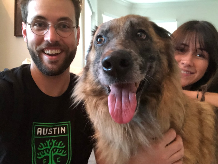 Candy with her forever family, Kati and Luke Brandon. They adopted her after she was Austin FC's honorary mascot for the July 7 match. (Photo: Austin Pets Alive!)