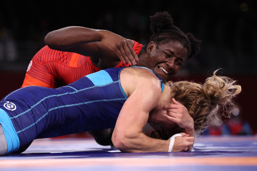 CHIBA, JAPAN - AUGUST 02: Tamyra Marianna Mensah Stock of Team United States competes against Alla Cherkasova of Team Ukraine during the Women's Freestyle 68kg Semifinal on day ten of the Tokyo 2020 Olympic Games at Makuhari Messe Hall on August 02, 2021 in Chiba, Japan. (Photo by Tom Pennington/Getty Images)