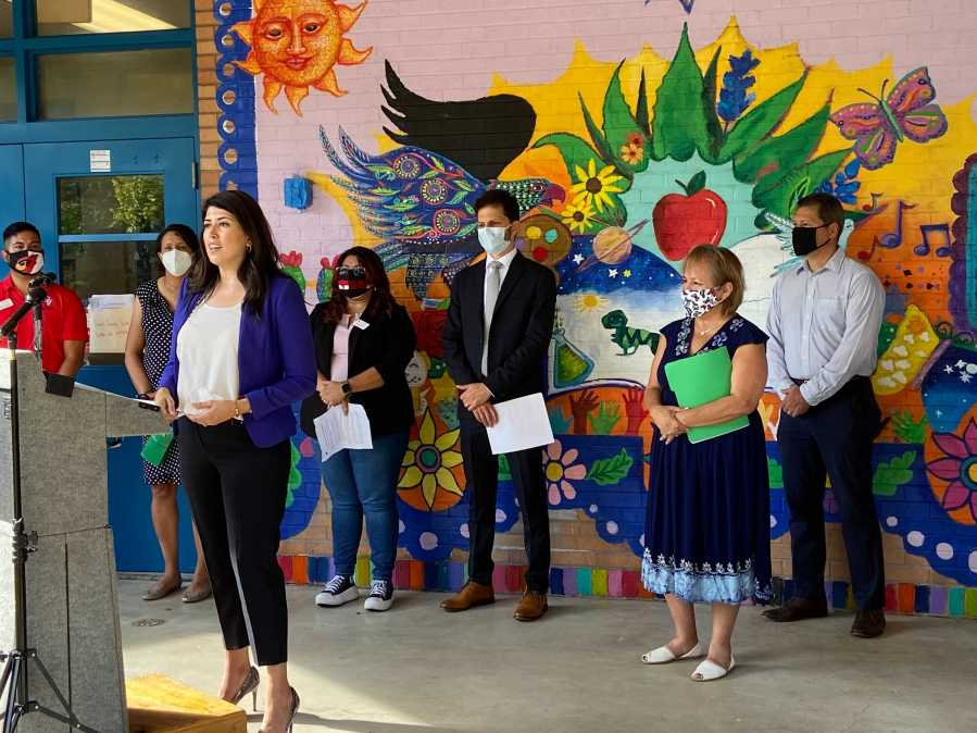 Austin City Councilmember Vanessa Fuentes organized the group of doctors, educators and school district trustees to share a message of school safety. (KXAN Photo/Clare O'Connor)