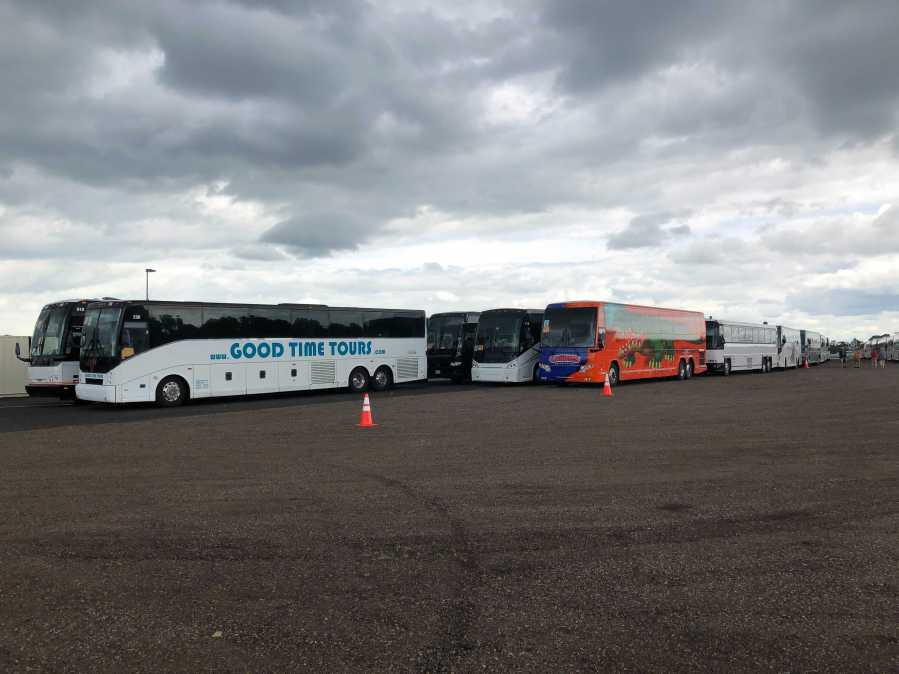 More than 50 coach buses line up in Lafayette, Louisiana to evacuate more than 4,000 people from the coast after Hurricane Ida. (KXAN Photo/David Yeomans)