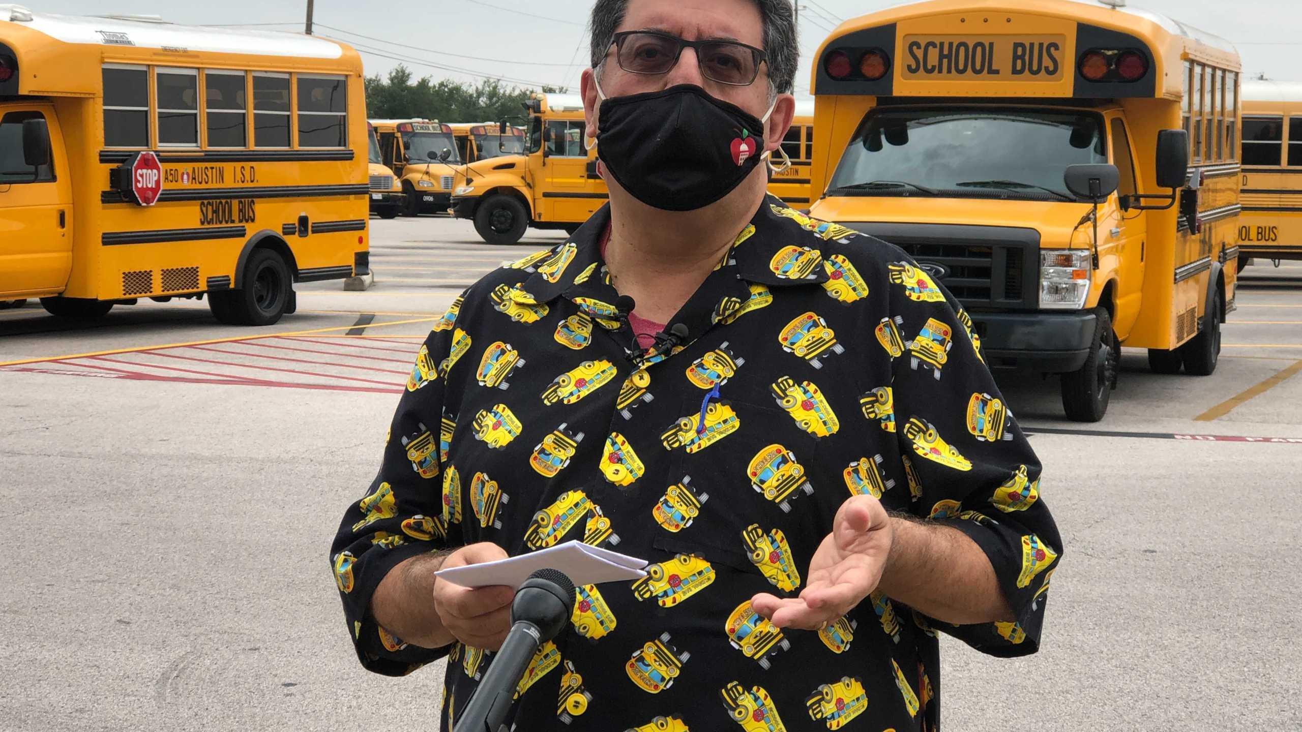 Kris Hafezizadeh, AISD's executive director of transportation, at the district's bus terminal, (KXAN photo/Frank Martinez)