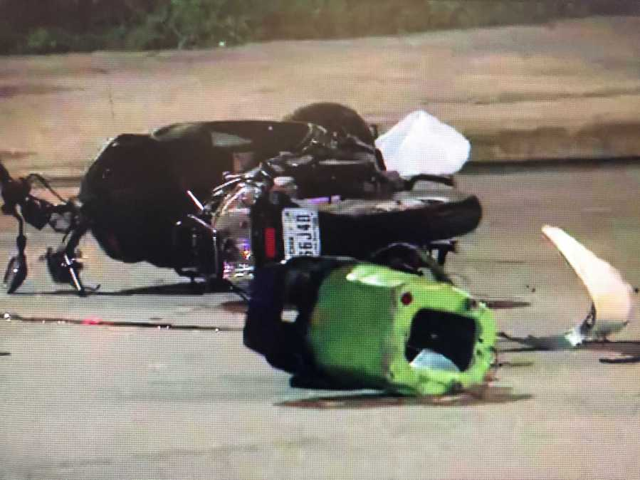 A man riding a motorcycle died following a crash on the Interstate 35 service road near Seventh Street early Tuesday morning. (KXAN photo/Julie Kzram)