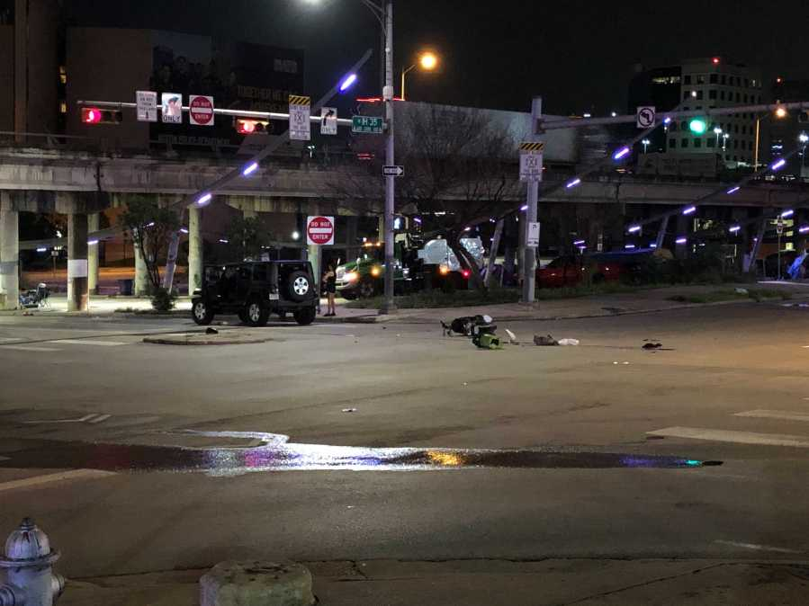 A man riding a motorcycle died following a crash on the Interstate 35 service road near Seventh Street early Tuesday morning. (KXAN photo/Julie Karam)