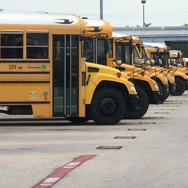AISD buses at the district's bus terminal, (KXAN photo/Frank Martinez)