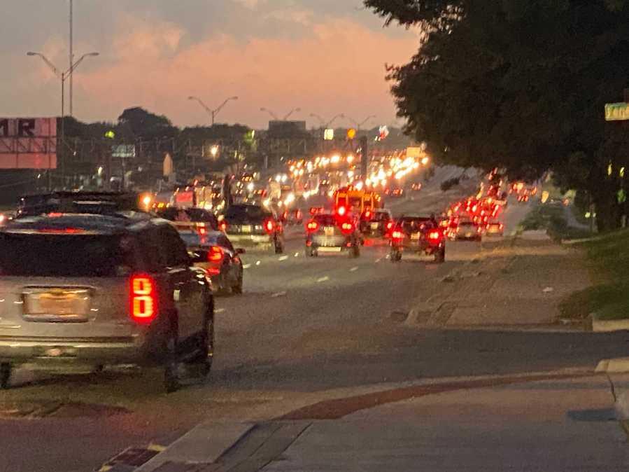 An 18-wheeler crashed through the median on I-35 near US 183 and Rundberg Lane Thursday morning. (KXAN photo/Mariano Garza)