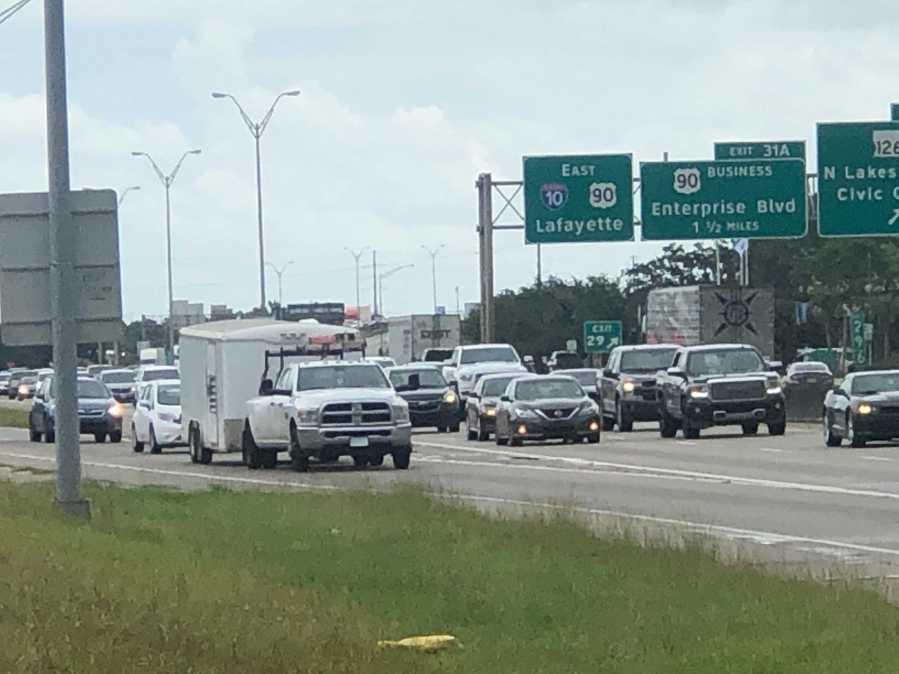 Traffic in Lake Charles before Ida landfall