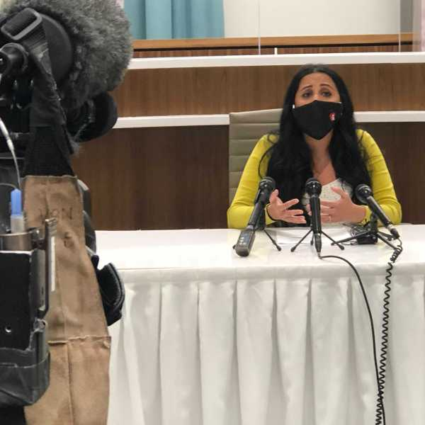 Austin ISD's Refugee Family Support Coordinator Salimah Shamsuddin addresses how the district will support incoming Afghan refugee students. (KXAN Photo/Frank Martinez)