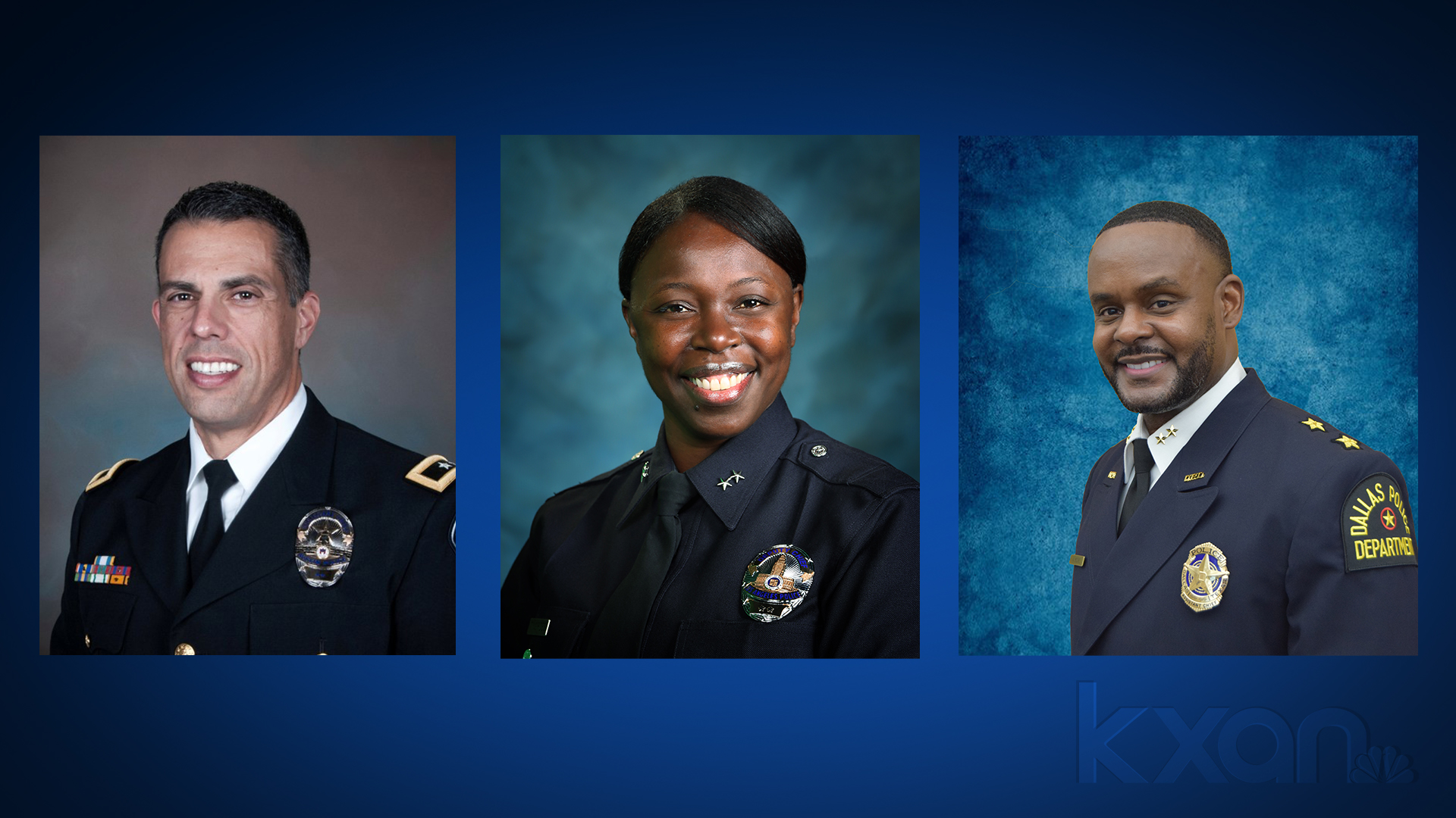 The three finalists for the permanent Austin Police Chief job are interim APD chief Joseph Chacon (left), deputy Los Angeles PD chief Emada E. Tingirides (middle) and assistant Dallas PD chief Avery Moore. (City of Austin photos)
