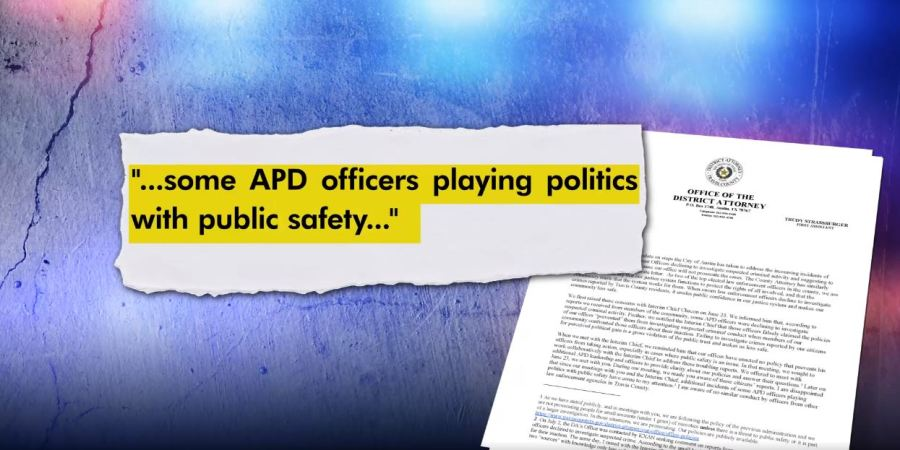 The District Attorney and County Attorney wrote to the Austin city manager about claims regarding some APD officers.