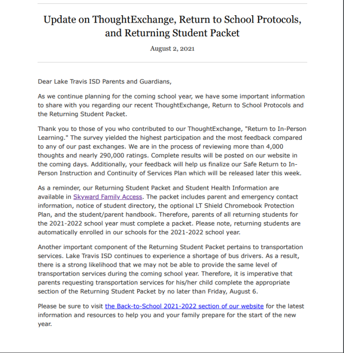 Lake Travis ISD email about bus driver shortages