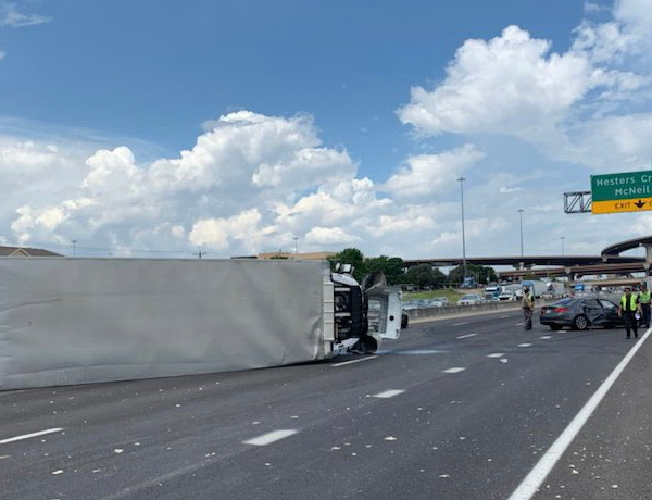 An 18-wheeler was involved in a crash Monday on I-35, and northbound lanes near SH 45 in Round Rock are closed as of 1:25 p.m. (Round Rock police photo)