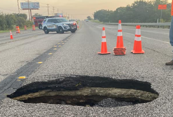 There's a hole in U.S. Highway 281 near Marble Falls, and the highway is closed while crews make repairs Thursday. (Marble Falls PD photo)