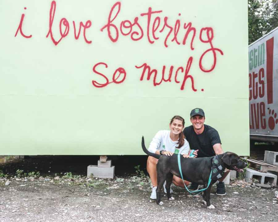 Will Pulisic and Mia De Leon with their adorable foster pup, Black Rose. She is available for adoption. (Photo: Austin Pets Alive!)