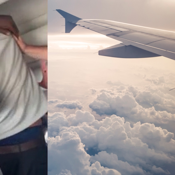 A still from a video of a fight on a plane, over an image of a plane wing