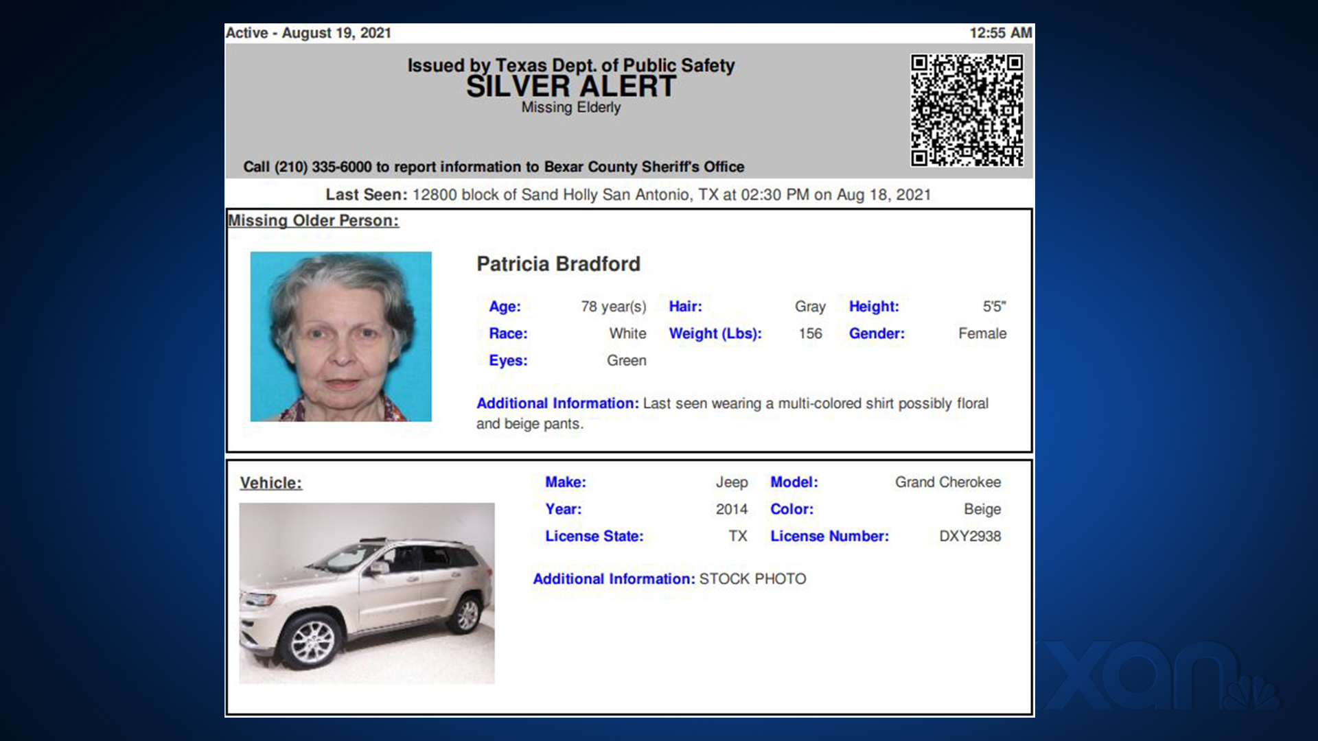 Texas DPS issued this Silver Alert for 78-year-old Patricia Bradford