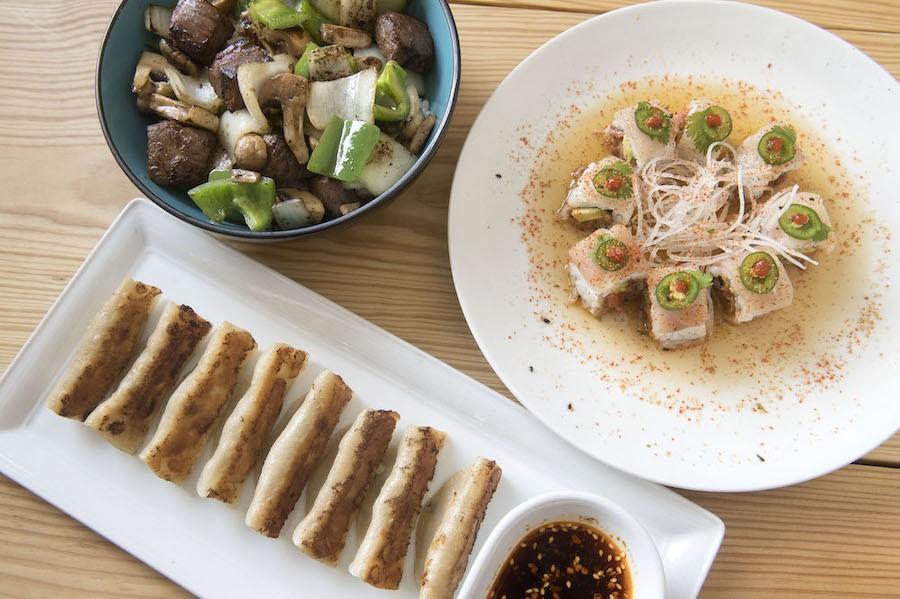 Shaken Wagyu Beef, Cilantro-Made-Me-Do-It sushi roll, and Pork Pan Fried Dumplings at Sweet Chive Photo by John Anderson