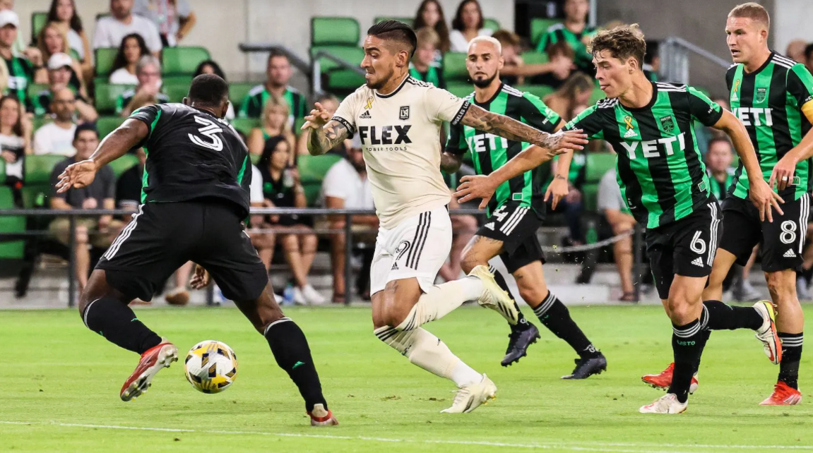 Cristian Arango scored the opening goal for LAFC in a 2-1 win over Austin FC. | ANDY NIETUPSKI | TTL SPORTS FOR THE STRIKER TEXAS