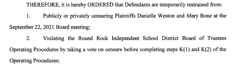 Excerpt from temporary restraining order granted in favor of RRISD Board Trustees Mary Bone and Danielle Weston.