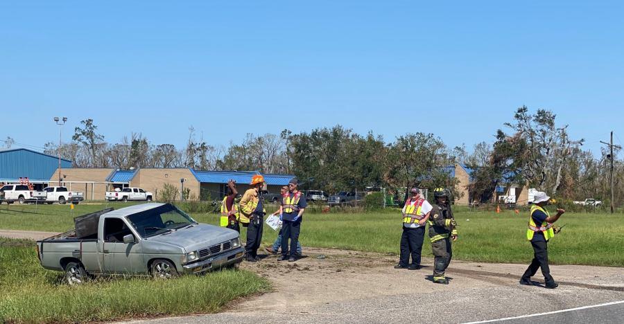 Rollover wreck. (Photo credit: Lt. Jason Rudloff/Austin Fire Department)