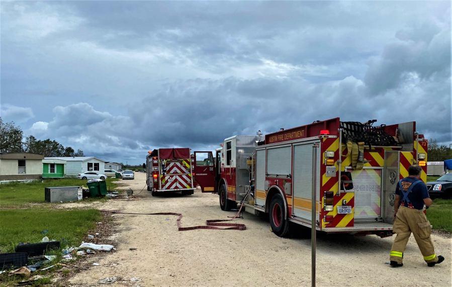 AFD Engine 78 and St John's Parish Engine 91 on scene of an oven fire. (Photo credit: Lt. Jason Rudloff/Austin Fire Department)