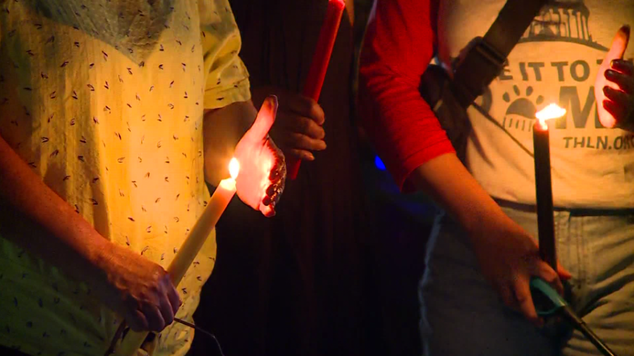 A candlelight vigil was held the evening of Sept. 21, 2021 at San Gabriel Park for the 75 pets lost in a weekend fire at Ponderosa Pet Resort in Georgetown. (KXAN Photo/Andrew Choat)
