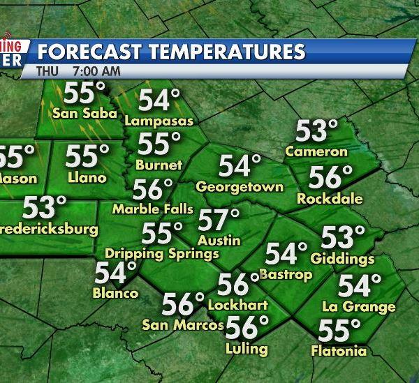 Forecast low temperatures Wednesday night