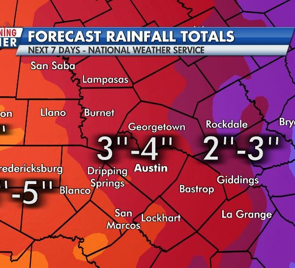 Forecast rain totals ranging from 2-7 inches