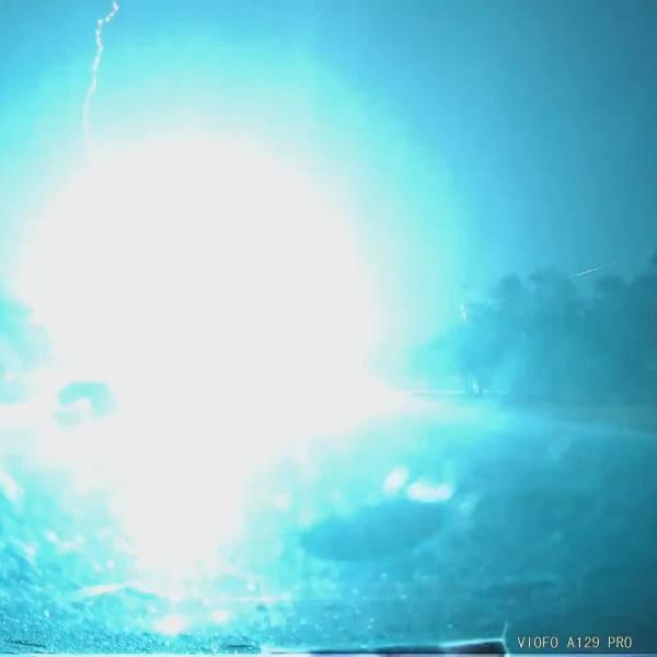 A transformer blew after lightning struck a power pole in northwest Austin Sept. 28, 2021 (Courtesy Patrick Heaslet)