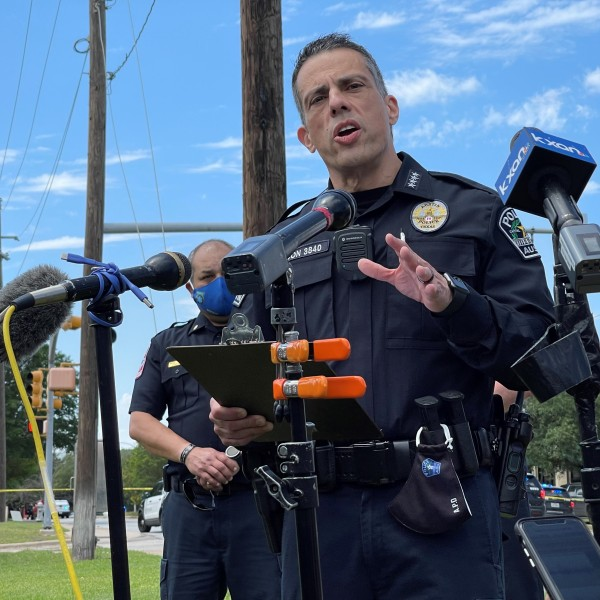 FILE: APD Interim Chief Joseph Chacon gives an update at the scene of a triple shooting in northwest Austin in the Arboretum area on April 18, 2021. (KXAN Photo)